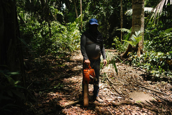 "Vice Investigates -- ""Amazon on Fire"" -- Episode 3 -- Emmy award-winning VICE News correspondent Seb Walker will take audiences to the front lines of the fires blazing throughout the Amazon where politics are rolling back decades of work to save the forest and potentially the planet. As Brazil's President Jair Bolsonaro is confronted with an unprecedented ecological disaster conservationists are placing blame squarely at his feet. Key interviews include French President Emmanuel Macron, an outspoken critic of the government's response, as well as indigenous people and ranchers who have been living on the land for generations but are in bitter opposition over its value, legacy and stewardship. Logger, shown. (Photo by: Daniel Vergara / VICE Media / Hulu)"