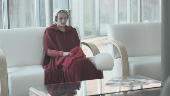 "The Handmaid's Tale -- ""Nolite Te Bastardes Carborundorum"" Episode 104 -- Punished by Serena Joy, Offred begins to unravel and reflects on her time with Moira at the Red Center. A complication during the Ceremony threatens Offred's survival with the Commander and Serena Joy. Offred (Elisabeth Moss), shown. (Photo by: George Kraychyk/Hulu)"