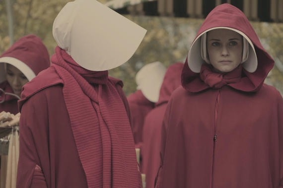 "The Handmaid's Tale -- ""Faithful"" Episode 105 -- Serena Joy makes Offred a surprising proposition. Offred remembers the unconventional beginnings of her relationship with her husband. Ofglen (Alexis Bledel), shown. (Photo by: George Kraychyk/Hulu)"