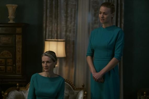 "The Handmaid's Tale -- ""A Woman's Place"" Episode 106 -- A Mexican Ambassador visiting Gilead questions Offred about her life as a Handmaid. Serena Joy reflects on her marriage and the role she once played in Gilead's inception. Naomi Putnam (Ever Carradine) and Serena Joy (Yvonne Strahovski), shown. (Photo by: George Kraychyk/Hulu)"
