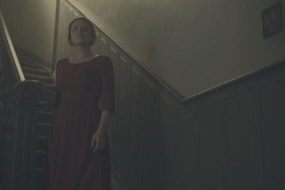 "The Handmaid's Tale -- ""A Woman's Place"" -- Episode 106 -- A Mexican Ambassador visiting Gilead questions Offred about her life as a Handmaid. Serena Joy reflects on her marriage and the role she once played in Gilead's inception. Offred (Elisabeth Moss), shown. (Photo by: George Kraychyk/Hulu)"