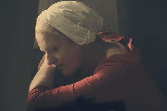 "The Handmaid's Tale -- ""Nigh"" -- Episode 110 -- Serena Joy confronts Offred and the Commander. Offred struggles with a complicated, life-changing revelation. The Handmaids face a brutal decision. Offred (Elisabeth Moss), shown. (Photo by: George Kraychyk/Hulu)"