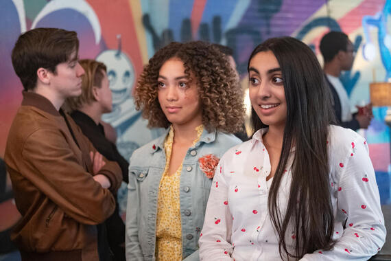 "Holly Hobbie -- ""The Night-Crawling Newbie"" -- Episode 206 -- Holly convinces Amy and Piper to attend a music showcase hosted by Oscar at a Sheffield dance club. Piper (Kamaia Fairburn) and Amy (Saara Chaudry), shown. (Photo by: Brooke Palmer /CloudCo Entertainment /Aircraft Pictures /Hulu)"