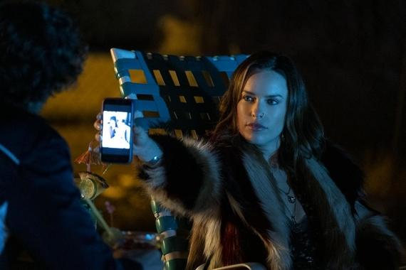 "Into The Dark -- ""I'm Just F'ing With You"" - On the way to a family wedding, a man and his sister endure a night of increasingly frightening practical jokes during a stay the night at a secluded motel. Rachel (Jessica McNamee), shown. (Photo by: Scott Everett White/Hulu)"