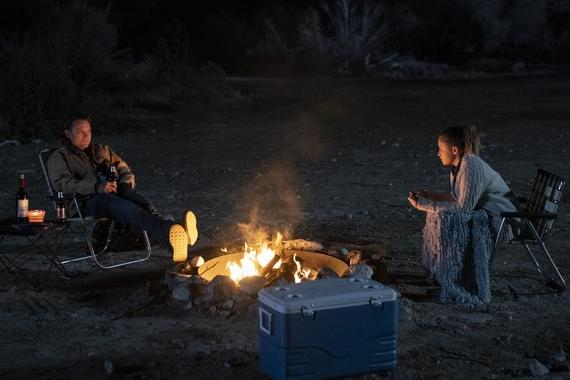 "Into The Dark -- ""They Come Knocking"" - After losing his wife to cancer, a father takes his two daughters on a road trip where he finds his family in the crosshairs of terrifying supernatural entities. Nathan (Clayne Crawford) and Claire (Josephine Langford), shown. (Photo by: Greg Gayne/Hulu)"