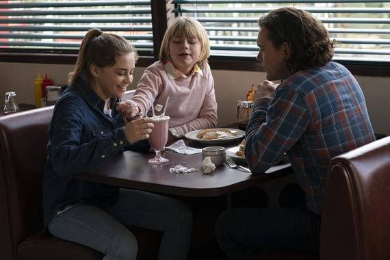 "Into The Dark -- ""They Come Knocking"" - After losing his wife to cancer, a father takes his two daughters on a road trip where he finds his family in the crosshairs of terrifying supernatural entities. Claire (Josephine Langford), Maggie (Lia McHugh), and Nathan (Clayne Crawford), shown. (Photo by: Greg Gayne/Hulu)"