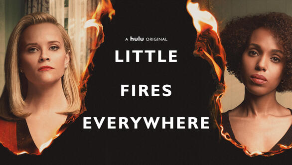Little Fires Everywhere -- Based on Celeste Ng's 2017 bestseller, Little Fires Everywhere follows the intertwined fates of the picture-perfect Richardson family and an enigmatic mother and daughter who upend their lives. The story explores the weight of secrets, the nature of art and identity, the ferocious pull of motherhood – and the danger in believing that following the rules can avert disaster. Mia Warren (Kerry Washington) and Elena Richardson (Reese Witherspoon), shown. (Photo by: Erin Simkin/Hulu)