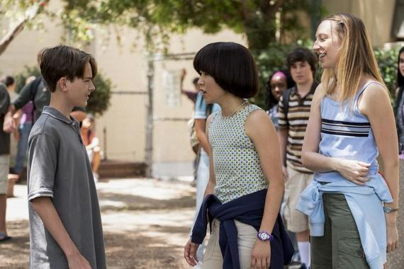 "PEN15 -- ""First Day"" - Episode 101 - It's the first day of seventh grade in the year 2000. School rejects, Anna and Maya, get a lot of unexpected attention. Brandt (Jonah Beres), Maya Ishii-Peters (Maya Erskine), Sam (Taj Cross), and Anna Kone (Anna Konkle), shown. (Photo by: Alex Lombardi/Hulu)"
