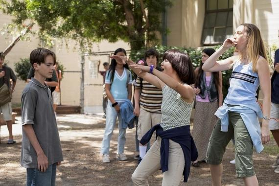 "PEN15 -- ""First Day"" - Episode 101 - It's the first day of seventh grade in the year 2000. School rejects, Anna and Maya, get a lot of unexpected attention. Brandt (Jonah Beres), Sam (Taj Cross), Maya Ishii-Peters (Maya Erskine), and Anna Kone (Anna Konkle), shown. (Photo by: Alex Lombardi/Hulu)"
