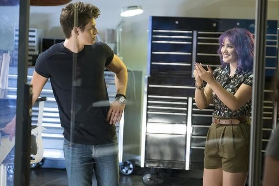 "MARVEL'S RUNAWAYS - ""Destiny"" - Episode 103 - The kids are reeling following last night's events. As an investigation begins, they discover their parents may have more to hide than they could have imagined. Chase Stein (Gregg Sulkin) and Gert Yorkes (Ariela Barer), shown. (Photo by: Patrick Wymore/Hulu)"