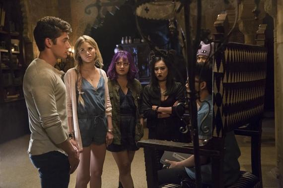 "MARVEL'S RUNAWAYS -- ""Kingdom"" - Episode 105 - Just when Alex thought his relationship with his parents couldn't be more strained, an old friend from Geoffrey's past resurfaces, and Alex discovers long-buried secrets about his dad. After their not-so-fearless leader is taken, our kids spring into action to save him. And as they scramble to get Alex back, the Runaways begin to experiment with their own untapped power in order to step in to save their friend. Chase Stein (Gregg Sulkin), from left, Karolina Dean (Virginia Gardner), Gert Yorkes (Ariela Barer), Nico Minoru (Lyrica Okano), Alex Wilder (Rhenzy Feliz) and Molly Hernandez (Allegra Acosta), shown. (Photo by: Patrick Wymore/Hulu)"