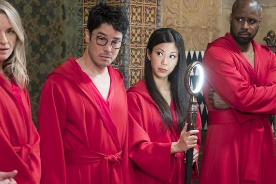 "MARVEL'S RUNAWAYS -- ""Metamorphosis"" - Episode 106 - During PRIDE's gala, the kids set in motion a new plan to take down their parents for good. As the evening unfolds, everyone's personal drama threatens to derail their plans. Janet Stein (Ever Carradine) from left, Robert Minoru (James Yaegashi), Tina Minoru (Brittany Ishibashi) and Geoffrey Wilder (Ryan Sands), shown. (Photo by: Patrick Wymore/Hulu)"