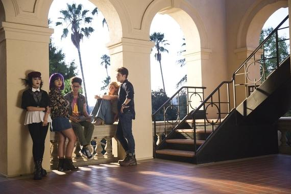 "MARVEL'S RUNAWAYS -- ""Refraction"" - Episode 107 - At Atlas' Open House, our parents and kids are thrown together following the revelations of the gala. But for one family, the school event is only the beginning of the drama. Nico Minoru (Lyrica Okano) from left, Gert Yorkes (Ariela Barer), Alex Wilder (Rhenzy Feliz), Karolina Dean (Virginia Gardner) and Chase Stein (Gregg Sulkin), shown. (Photo by: Patrick Wymore/Hulu)"