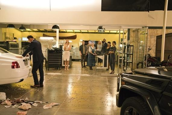 "MARVEL'S RUNAWAYS -- ""Tsunami"" - Episode 108 - PRIDE tries desperately to clean up their latest mess without involving Jonah. But can they handle this on their own? Jonah (Julian McMahon) from left, Leslie Dean (Annie Wersching), Dale Yorkes (Kevin Weisman) Robert Minoru (James Yaegashi), Stacey Yorkes (Brigid Brannagh), Janet Stein (Ever Carradine), Geoffrey Wilder (Ryan Sands), Catherine Wilder (Angel Parker) and Tina Minoru (Brittany Ishibashi), shown. (Photo by: Greg Lewis/Hulu)"
