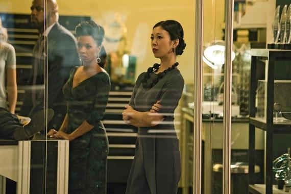 "MARVEL'S RUNAWAYS -- ""Tsunami"" - Episode 108 - PRIDE tries desperately to clean up their latest mess without involving Jonah. But can they handle this on their own? Geoffrey Wilder (Ryan Sands) from left, Catherine Wilder (Angel Parker) and Tina Minoru (Brittany Ishibashi), shown. (Photo by: Greg Lewis/Hulu)"