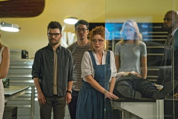 "MARVEL'S RUNAWAYS -- ""Tsunami"" - Episode 108 - PRIDE tries desperately to clean up their latest mess without involving Jonah. But can they handle this on their own? Dale Yorkes (Kevin Weisman) from left, Robert Minoru (James Yaegashi), Stacey Yorkes (Brigid Brannagh) Janet Stein (Ever Carradine) and Geoffrey Wilder (Ryan Sands), shown. (Photo by: Greg Lewis/Hulu)"