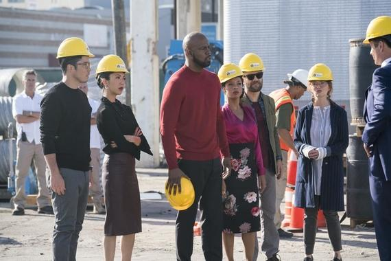 "MARVEL'S RUNAWAYS -- ""Doomsday"" - Episode 109 - The Runaways are feeling more fractured than ever when Molly arrives with a devastating message from her parents. Now the kids have to stop their parents before it's too late. Robert Minoru (James Yaegashi) from left, Tina Minoru (Brittany Ishibashi), Geoffrey Wilder (Ryan Sands), Catherine Wilder (Angel Parker), Dale Yorkes (Kevin Weisman) and Stacey Yorkes (Brigid Brannagh), shown. (Photo by: Greg Lewis/Hulu)"