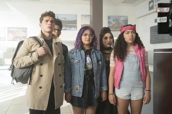 "MARVEL'S RUNAWAYS -- ""Hostile"" - Episode 110 - The Runaways face off with their parents. But when Jonah arrives unexpectedly with a new game plan, the kids realize they are in over their heads. Chase Stein (Gregg Sulkin) from left, Alex Wilder (Rhenzy Feliz), Gert Yorkes (Ariela Barer), Nico Minoru (Lyrica Okano) and Molly Hernandez (Allegra Acosta), shown. (Photo by: Greg Lewis/Hulu)"