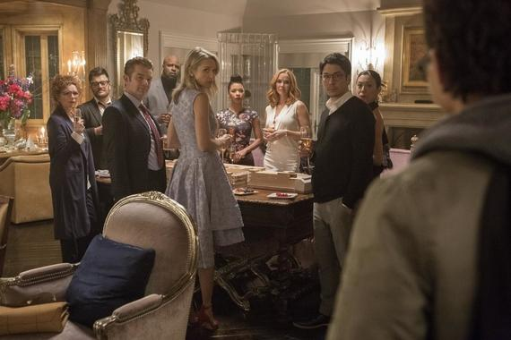 "MARVEL'S RUNAWAYS - ""Pilot"" - Episode 101 - Every teenager thinks their parents are evil. What if you found out they actually were? Marvel's Runaways is the story of six diverse teenagers who can barely stand each other but who must unite against a common foe – their parents. The 10-episode series premieres Tuesday, November 21st. The series stars Rhenzy Feliz, Lyrica Okano, Virginia Gardner, Ariela Barer, Gregg Sulkin, Allegra Acosta, Annie Wersching, Ryan Sands, Angel Parker, Ever Carradine, James Marsters, Kevin Weisman, Brigid Brannah, James Yaegashi, Brittany Ishibashi, and Kip Pardue. From left: Stacey Yorkes (Brigid Brannagh) Dale Yorkes (Kevin Weisman), Victor Stein (James Marsters), Geoffrey Wilder (Ryan Sands), Janet Stein (Ever Carradine), Catherine Wilder (Angel Parker), Leslie Dean (Annie Wersching), Robert Minoru (James Yaegashi) and Tina Minoru (Brittany Ishibashi), shown. (Photo by: Paul Sarkis/Hulu)"