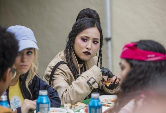 "Runaways -- ""Gimmie Shelter"" -- Episode 201 -- The kids struggle with their new lives as runaways and find a place to crash. Alex picks up a side job while PRIDE hatches a plot for vengeance. The Runaways race to save an innocent life from PRIDE. Jonah initiates new plans. Alex Wilder (Rhenzy Feliz), Karolina Dean (Virginia Gardner), Nico Minoru (Lyrica Okano), Molly Hernandez (Allegra Acosta) shown. (Photo by: Greg Lewis / Hulu)"
