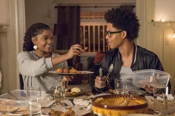 "Runaways -- ""Radio On"" -- Episode 202 -- Karolina, Nico, and Molly try to retrieve the Staff of One, but this proves more complicated than they thought. Karolina and Alex are both less than truthful about who they are spending their time with. Darius has an offer for Geoffrey. Livvie (Ajiona Alexus), (Alex Wilder (Rhenzy Feliz) shown. (Photo by: Paul Sarkis / Hulu)"