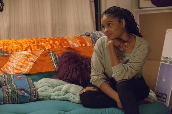 "Runaways -- ""Radio On"" -- Episode 202 -- Karolina, Nico, and Molly try to retrieve the Staff of One, but this proves more complicated than they thought. Karolina and Alex are both less than truthful about who they are spending their time with. Darius has an offer for Geoffrey. Livvie (Ajiona Alexus) shown. (Photo by: Paul Sarkis / Hulu)"