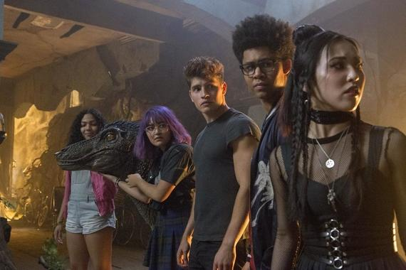 "Runaways -- ""Radio On"" -- Episode 202 -- Karolina, Nico, and Molly try to retrieve the Staff of One, but this proves more complicated than they thought. Karolina and Alex are both less than truthful about who they are spending their time with. Darius has an offer for Geoffrey. Molly Hernandez (Allegra Acosta), Gert Yorkes (Ariela Barer), Chase Stein (Gregg Sulkin), Alex Wilder (Rhenzy Feliz), Nico Minoru (Lyrica Okano), Karolina Dean (Virginia Gardner) shown. (Photo by: Paul Sarkis / Hulu)"