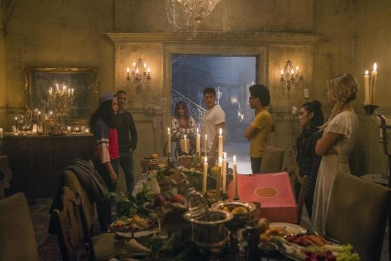 "Runaways -- ""Old School"" -- Episode 204 -- A new friend helps the kids steal something essential for their plans, but PRIDE is not far behind. The stakes grow higher for Jonah as he tries to reconnect with a loved one. Molly Hernandez (Allegra Acosta), Topher (Jan Luis Castellanos), Gert Yorkes (Ariela Barer), Chase Stein (Gregg Sulkin), Alex Wilder (Rhenzy Felix), Nico Minoru (Lyrica Okano), Karolina Dean (Virginia Gardner) shown. (Photo credit: Greg Lewis/Hulu)"