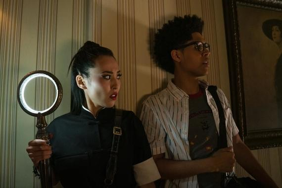 "Runaways -- ""The Great Escape"" - Episode 302 -- Karolina, Chase and Janet plot their own escape from the Algorithm, while in the real world the rest of the Runaways team up to fight Jonah and get them out. Nico (Lyrica Okano) and Alex (Rhenzy Feliz), shown. (Photo by: Michael Desmond/Hulu)"