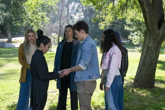 "Runaways -- ""Lord of Lies"" - Episode 303 -- The Runaways become suspicious of one another with a traitor among them. Catherine takes responsibility for her past. Leslie seeks help protecting the child growing inside her. Karolina (Virginia Gardner), Nico (Lyrica Okano), Xavin (Clarissa Thibeaux), Chase (Gregg Sulkin), and Molly (Allegra Acosta), shown. (Photo by: Michael Desmond/Hulu)"