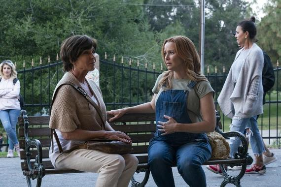 "Runaways -- ""Lord of Lies"" - Episode 303 -- The Runaways become suspicious of one another with a traitor among them. Catherine takes responsibility for her past. Leslie seeks help protecting the child growing inside her. Susan (Kathleen Quinlan) and Leslie (Annie Wersching), shown. (Photo by: Michael Desmond/Hulu)"
