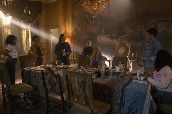 "Runaways -- ""Lord of Lies"" - Episode 303 -- The Runaways become suspicious of one another with a traitor among them. Catherine takes responsibility for her past. Leslie seeks help protecting the child growing inside her. Gert (Ariela Barer), Alex (Rhenzy Feliz), Xavin (Clarissa Thibeaux), Nico (Lyrica Okano), Leslie (Annie Wersching), Karolina (Virginia Gardner), Chase (Gregg Sulkin) and Molly (Allegra Acosta), shown. (Photo by: Michael Desmond/Hulu)"