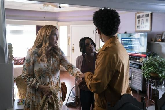 "Runaways -- ""Rite of Thunder"" - Episode 304 -- The kids search for Leslie and Alien Alex. Meanwhile, Leslie gives birth and Xavin fulfills her prophecy. The kids go head to head in a final battle against the aliens. Leslie (Annie Wersching), Tamar (Ozioma Akagha) and Alex (Rhenzy Feliz), shown. (Photo by: Michael Desmond/Hulu)"