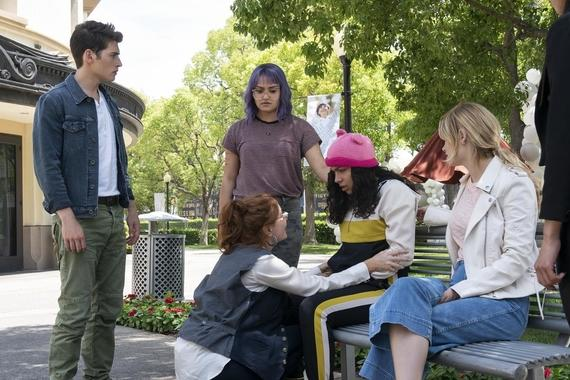 "Runaways -- ""Enter The Dreamland"" - Episode 305 -- The kids find themselves in an alternate dimension full of visions from their past. They must find their parents and Alex before time runs out. One person is left behind. Chase (Gregg Sulkin), Stacey (Brigid Brannagh), Gert (Ariela Barer), Molly (Allegra Acosta) and Karolina (Virginia Gardner), shown. (Photo by: Michael Desmond/Hulu)"