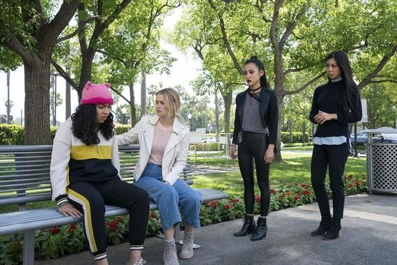 "Runaways -- ""Enter The Dreamland"" - Episode 305 -- The kids find themselves in an alternate dimension full of visions from their past. They must find their parents and Alex before time runs out. One person is left behind. Molly (Allegra Acosta), Karolina (Virginia Gardner), Nico (Lyrica Okano) and Tina (Brittany Ishibashi), shown. (Photo by: Michael Desmond/Hulu)"