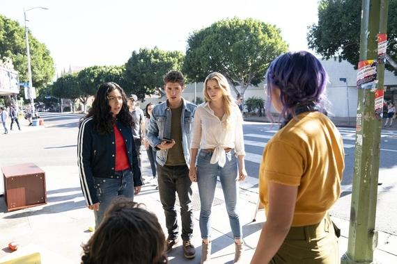 "Runaways -- ""Merry Meet Again"" - Episode 306 -- After being trapped in the Dark Dimension for six months, the kids must contend with the new Wizard phone craze that is sweeping the city and may hint at darker things to come. Molly (Allegra Acosta), Chase (Gregg Sulkin), Karolina (Virginia Gardner) and Gert (Ariela Barer), shown. (Photo by: Michael Desmond/Hulu)"