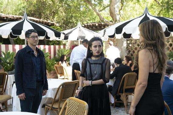 "Runaways -- ""Merry Meet Again"" - Episode 306 -- After being trapped in the Dark Dimension for six months, the kids must contend with the new Wizard phone craze that is sweeping the city and may hint at darker things to come. Robert (James Yaegashi), Nico (Lyrica Okano) and Morgan le Fay (Elizabeth Hurley), shown. (Photo by: Michael Desmond/Hulu)"