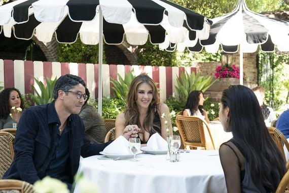 "Runaways -- ""Merry Meet Again"" - Episode 306 -- After being trapped in the Dark Dimension for six months, the kids must contend with the new Wizard phone craze that is sweeping the city and may hint at darker things to come. Robert (James Yaegashi), Morgan le Fay (Elizabeth Hurley) and Nico (Lyrica Okano), shown. (Photo by: Michael Desmond/Hulu)"