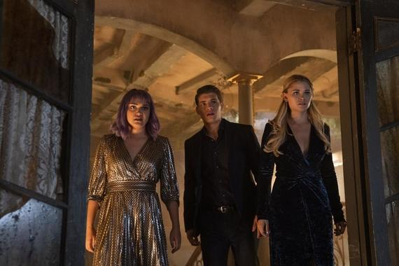 "Runaways -- ""Left-Hand Path"" - Episode 307 -- The kids try to get the message out about Morgan's phones and Molly falls for a boy while the Minorus unite as a family to steal Morgan's most prized possession. Gert (Ariela Barer), Chase (Gregg Sulkin) and Karolina (Virginia Gardner), shown. (Photo by: Michael Desmond/Hulu)"