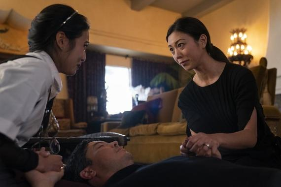 "Runaways -- ""Left-Hand Path"" - Episode 307 -- The kids try to get the message out about Morgan's phones and Molly falls for a boy while the Minorus unite as a family to steal Morgan's most prized possession. Nico (Lyrica Okano), Robert (James Yaegashi) and Tina (Brittany Ishibashi), shown. (Photo by: Michael Desmond/Hulu)"