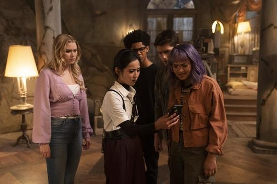 "Runaways -- ""The Broken Circle"" - Episode 309 -- The remaining PRIDE members unite with the kids to foil Morgan's plans, but as a battle rages in the Hostel, one of the Runaways pays the ultimate price to defeat her. Karolina (Virginia Gardner), Nico (Lyrica Okano), Alex (Rhenzy Feliz), Chase (Gregg Sulkin) and Gert (Ariela Barer), shown. (Photo by: Michael Desmond/Hulu)"