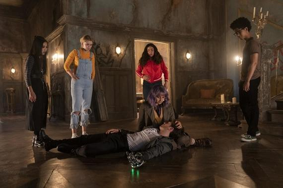 "Runaways -- ""Cheat The Gallows"" - Episode 310 -- Two years after defeating Morgan, visitors from the future send the Runaways back through time to prevent their own murders and even save a friend thought lost forever. Nico (Lyrica Okano), Karolina (Virginia Gardner), Molly (Allegra Acosta), Gert (Ariela Barer), Chase (Gregg Sulkin) and Alex (Rhenzy Feliz), shown. (Photo by: Michael Desmond/Hulu)"