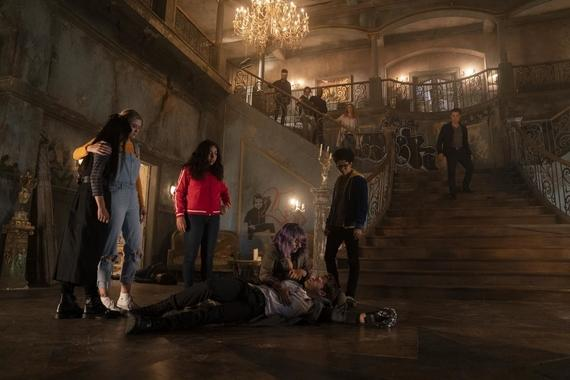 "Runaways -- ""Cheat The Gallows"" - Episode 310 -- Two years after defeating Morgan, visitors from the future send the Runaways back through time to prevent their own murders and even save a friend thought lost forever. Nico (Lyrica Okano), Karolina (Virginia Gardner), Molly (Allegra Acosta), Gert (Ariela Barer), Chase (Gregg Sulkin), Alex (Rhenzy Feliz) and Victor (James Marsters), shown. (Photo by: Michael Desmond/Hulu)"
