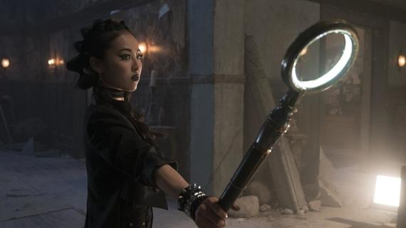 "Runaways -- ""Double Zeroes"" -- Episode 203 -- Alex, comfortable in Compton and embarking on a new romance, is betrayed. Jonah gives Leslie a mission while Catherine exacts vengeance. Janet tries to unlock a trove of otherworldly secrets and Molly makes a difference in the streets of Los Angeles. Nico Minoru (Lyrica Okano) shown. (Photo by: Michael Desmond / Hulu)"