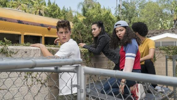"Runaways -- ""Old School"" -- Episode 204 -- A new friend helps the kids steal something essential for their plans, but PRIDE is not far behind. The stakes grow higher for Jonah as he tries to reconnect with a loved one. Chase Stein (Gregg Sulkin), Nico Minoru (Lyrica Okano), Molly Hernandez (Allegra Acosta), Alex Wilder (Rhenzy Feliz) shown. (Photo by: Greg Lewis / Hulu)"
