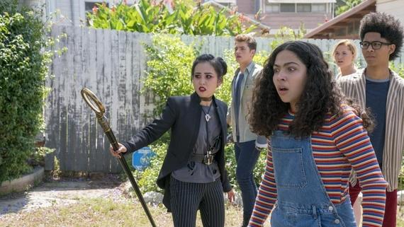 "Runaways -- ""Rock Bottom"" -- Episode 205 -- When the kids discover that an ally may be more dangerous than they could have possibly imagined, they find themselves in conflict over what to do about it. Nico Minoru (Lyrica Okano), Chase Stein (Gregg Sulkin), Molly Hernandez (Allegra Acosta), Karolina Dean (Virginia Gardner) Alex Wilder (Rhenzy Feliz) shown. (Photo by: Michael Desmond / Hulu)"