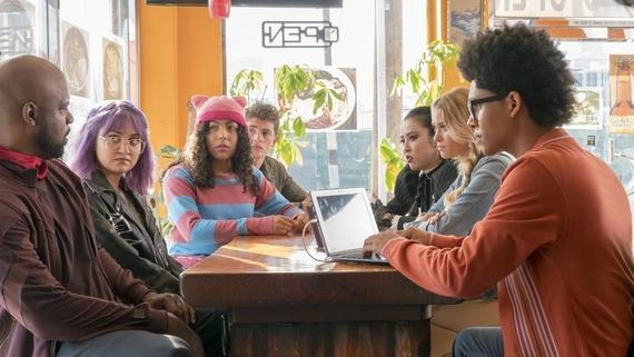 "Runaways -- ""Last Rites"" -- Episode 207 -- The Runaways face a final showdown with seismic consequences. As they scramble to stop Jonah's plan, PRIDE unexpectedly interferes. Will PRIDE face off against their own kids or join their ranks against an even greater threat? Geoffrey Wilder (Ryan Sands), Gert Yorkes (Ariela Barer), Molly Hernandez (Allegra Acosta), Chase Stein (Gregg Sulkin), Nico Minoru (Lyrica Okano), Karolina Dean (Virginia Gardner), Alex Wilder (Rhenzy Feliz) shown. (Photo by: Michael Desmond / Hulu)"