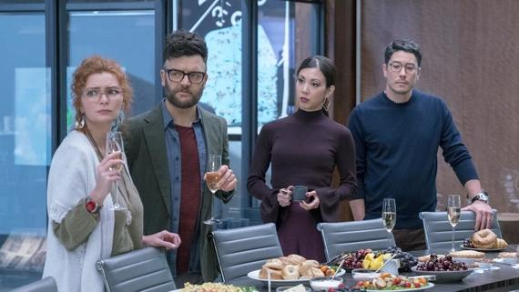 "Runaways -- ""Past Life"" -- Episode 208 -- In the aftermath of an epic battle, Karolina searches for answers while the others help Alex with his vendetta. The truth about Jonah's journey is revealed. Stacey Yorkes (Brigid Brannagh), Dale Yorkes (Kevin Weisman), Tina Minoru (Brittany Ishibashi), Robert Minoru (James Yaegashi) shown. (Photo by: Michael Desmond / Hulu)"