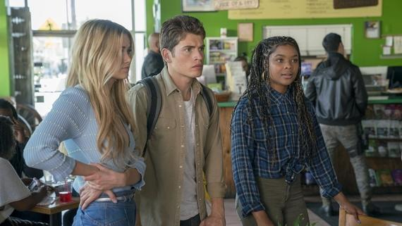 "Runaways -- ""Big Shot"" -- Episode 209 -- The Runaways find themselves on the wrong side of the law. Over the group's objections, Alex tries to scheme his way out of it, but the plan backfires. PRIDE decides that they have to step up their tactics to retrieve their kids. Karolina experiences a mysterious connection. Karolina Dean (Virginia Gardner), Chase Stein (Gregg Sulking), Livvie (Ajiona Alexus) shown. (Photo by: Michael Desmond / Hulu)"