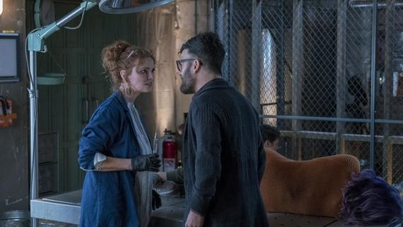 "Runaways -- ""Hostile Takeover"" -- Episode 210 -- Leslie begins dismantling her empire, but not everyone is okay with it. The Runaways try to defend themselves when their new home comes under attack. Victor isn't feeling like himself. Stacey Yorkes (Brigid Brannagh), Gert Yorkes (Ariela Barer), Dale Yorkes (Kevin Weisman). (Photo by: Michael Desmond / Hulu)"